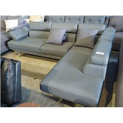 2 PIECE GREY SECTIONAL WITH PAIR OF ACCENT PILLOWS