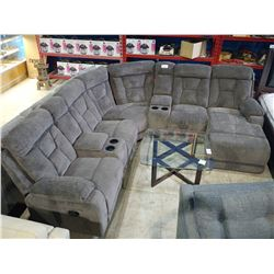 3 PIECE GREY RECLINING SECTIONAL WITH CONSOLES/CUP HOLDERS