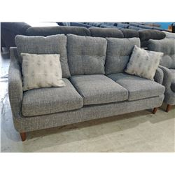 GREY SOFA AND LOVESEAT SET WITH 3 ACCENT PILLOWS