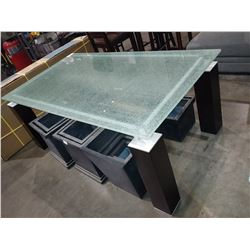 CRACKLE GLASS-TOP DINING TABLE