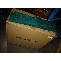 BOX OF HUNTER GREEN TRI-FOLD GOLF TOWELS
