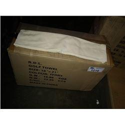 BOX OF IVORY TRI-FOLD GOLF TOWELS