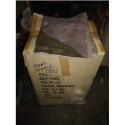 BOX OF GREY / BLACK TRI-FOLD GOLF TOWELS