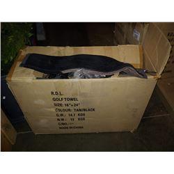 BOX OF TAN / BLACK TRI-FOLD GOLF TOWELS