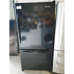 "33"" WIDE KITCHENAID BLACK FRIDGE / FREEZER"