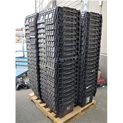 STACK OF 20 ORBIS ATTACHED LID BINS