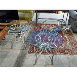 GLASS TOP METAL COFFEE TABLE WITH PAIR OF MATCHING SIDE TABLES