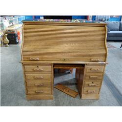 WOOD ROLL-TOP DESK