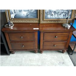 PAIR OF WOOD 2-DRAWER NIGHTSTANDS