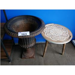 METAL PLANTER WITH WOOD CARVED SIDE TABLE
