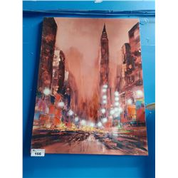 NYC ARTWORK ON CANVAS SIGNED BOTTOM RIGHT