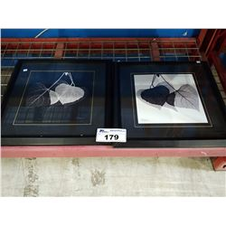PAIR OF LEAF PRINTS SIGNED BOTTOM RIGHT