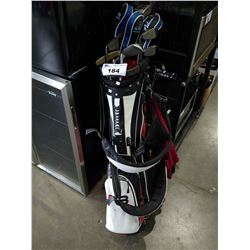 TAYLORMADE STANDING GOLF BAG WITH CLUBS / DRIVERS AND ROLLING CADDY