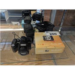 3 DIGITAL CAMERAS (CANON POWERSHOT A480, KODAK EASYSHARE Z712IS, SAMSUNG ST76), TRIKON DF8210 8X21