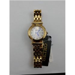 GOLD COLORED SEIKO STAINLESS STEEL WRIST WATCH WITH SWAROVSKI CRYSTALS (WATER RESISTANT 5BAR)