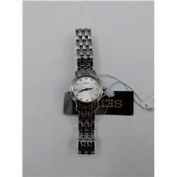 SILVER COLORED SEIKO STAINLESS STEEL WRIST WATCH WITH SWAROVSKI CRYSTALS (WATER RESISTANT 5BAR)