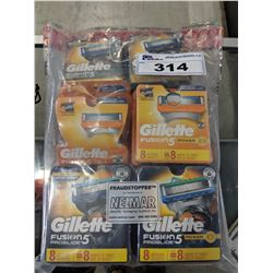 BAG OF ASSORTED GILLETTE FUSION RAZOR BLADES