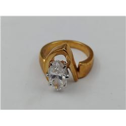 GOLD COLORED RING WITH LARGE CZ STONE