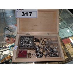 BOX OF ASSORTED RINGS, EARRINGS AND MORE (SOME STERLING SILVER)
