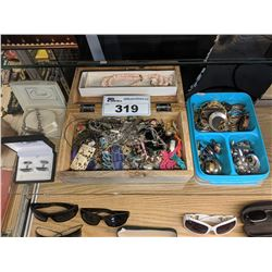 LOT OF ASSORTED COSTUME JEWELRY INCLUDING SMITH & BOND STERLING SILVER CUFFLINKS, BRACELETS,