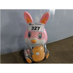 BUNNY COIN BANK WITH COIN CONTENTS
