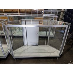 5' LONG GLASS DISPLAY CASE WITH ANGLED SIDES