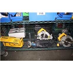 SHELF OF ASSORTED POWER TOOLS INCLUDING DEWALT AND RYOBI
