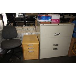 3 DRAWER FILING CABINET, OFFICE CHAIR AND SMALL FILING CABINET