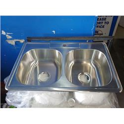 DOUBLE BASIN STAINLESS STEEL IN COUNTER SINK