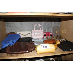SHELF OF WALLETS AND BAGS
