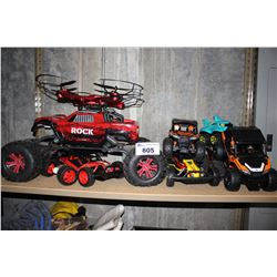 SHELF OF ASSORTED RC VEHICLES