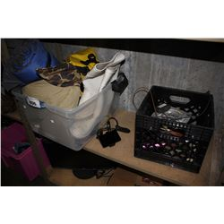 SHELF OF GARMIN GPS, FLOATER JACKET, DRY BAG, SIZE 12 GUMBOOTS, COPPER WIRE, DRILL BITS AND MORE