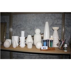 SHELF OF WHITE POTTERY, PAINT AND MORE