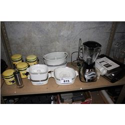 SHELF INCLUDING DISHWARE, FOODSAVER, BLENDERS AND MORE