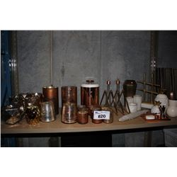 SHELF OF COPPER COLORED DECOR