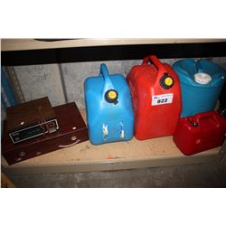 SHELF OF 4 JERRY CANS, PIPES AND MORE