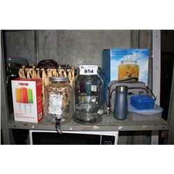 SHELF LOT OF BEVERAGE DISPENSERS, WATER BOTTLES AND DECOR