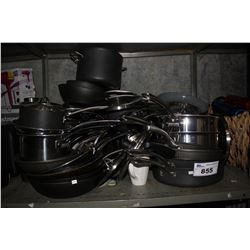 LARGE SHELF OF ASSORTED POTS AND PANS
