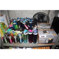 SHELF LOT OF WATER BOTTLES, FAN, TOASTER AND MORE
