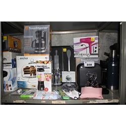 SHELF LOT OF ASSORTED HOUSEHOLD GOODS INCLUDING SHAVERS, CAKE TRAY, COFFEE MAKER AND MORE