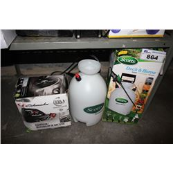 BATTERY CHARGER AND SCOTTS DECK AND HOME SPRAYER