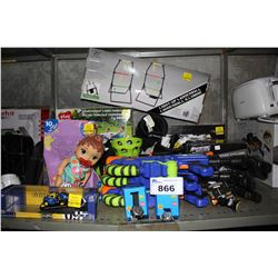 SHELF LOT OF ASSORTED TOYS, WATER GUNS AND MORE