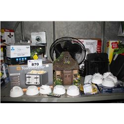 SHELF LOT OF ASSORTED HOUSEHOLD GOODS INCLUDING TOASTER, PATHWAY LIGHTS, FAN AND MORE