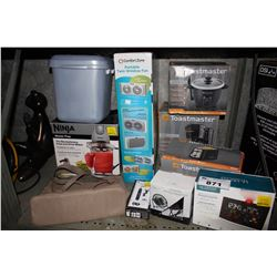 SHELF LOT OF ASSORTED HOUSEHOLD GOODS INCLUDING NINJA MASTER PREP, TOASTER, WEATHER STATION AND