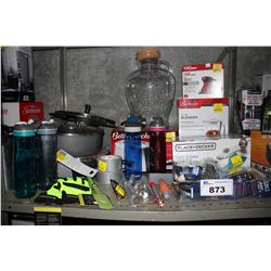 SHELF LOT OF ASSORTED HOUSEHOLD GOODS INCLUDING IRON, WATER BOTTLES, SHOWER HEAD AND MORE