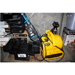 SHELF LOT OF ASSORTED HOUSEHOLD GOODS INCLUDING KETTLE, SUPER FAN, SHAVERS, HANDHELD VACUUM AND