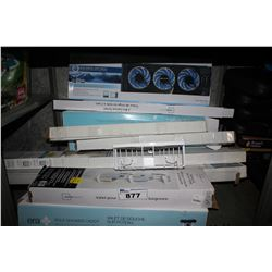 SHELF LOT OF ASSORTED HOUSEHOLD GOODS INCLUDING SHOWER CADDYS, CIRCULATION FAN, CANVAS SORTER AND
