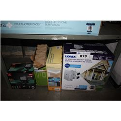 SHELF LOT OF ASSORTED HOUSEHOLD GOODS INCLUDING MOTION SENSOR LIGHT, LOREX SECURITY SYSTEM AND MORE
