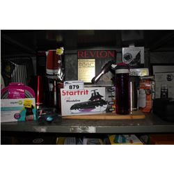 SHELF LOT OF ASSORTED HOUSEHOLD GOODS INCLUDING KETTLE, SMALL FAN, SLICER, POPCORN MAKER AND MORE