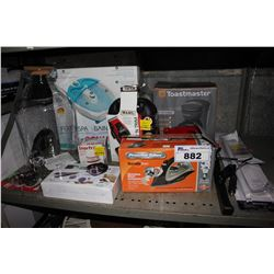 SHELF LOT OF ASSORTED HOUSEHOLD GOODS INCLUDING IRON, FOOT SPA, COFFEE MAKER AND MORE